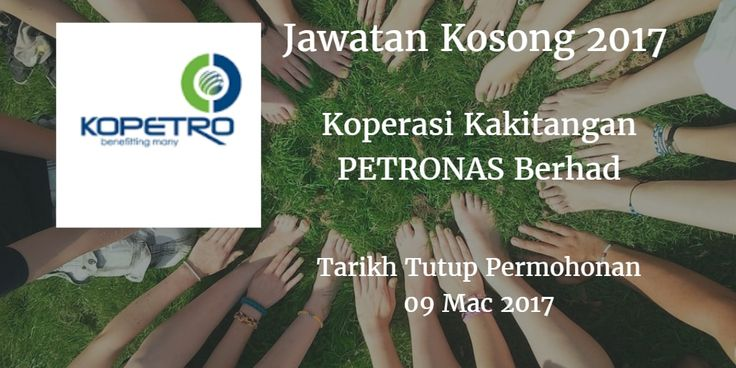 Jawatan Kosong Koperasi Kakitangan PETRONAS Berhad 09 Mac 2017  Koperasi Kakitangan PETRONAS Berhadmencari calon-calon yang sesuai untuk mengisi kekosongan jawatan Koperasi Kakitangan PETRONAS Berhad terkini 2017.  Jawatan Kosong Koperasi Kakitangan PETRONAS Berhad 09 Mac 2017  Warganegara Malaysia yang berminat bekerja di Koperasi Kakitangan PETRONAS Berhad dan berkelayakan dipelawa untuk memohon sekarang juga. Jawatan Kosong Koperasi Kakitangan PETRONAS BerhadTerkini 09 Mac 2017 Eksekutif…