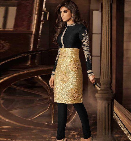Priyanka Chopra Black Golden Dress 5033 B Flora Creations Surat