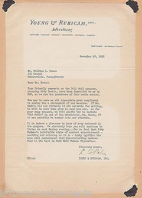 YOUNG & RUBICAM PALL MALL CIGARETTES EDDY DUCHIN ADVERTISING 1930s SIGNED LETTER