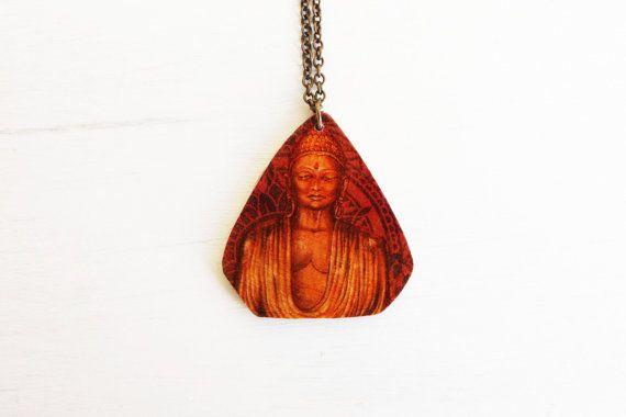 Buddha wooden necklace / buddha elephant decoupage by TACEHandmade, €14.00