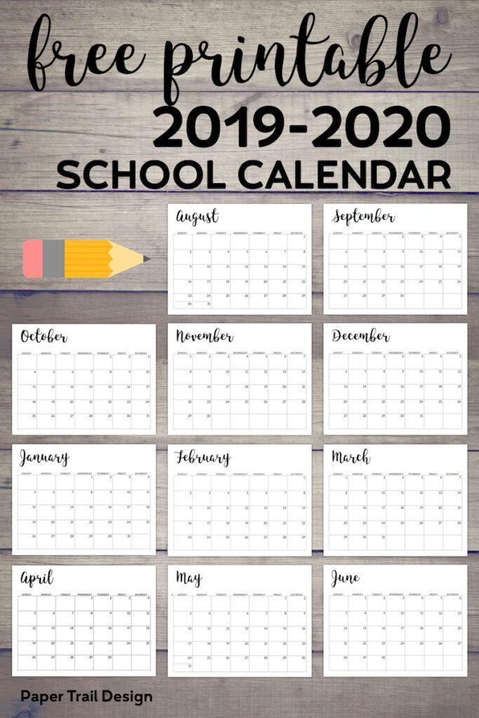 2019 2020 Printable School Calendar School School Printables