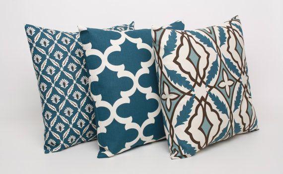 Set of 3 Blue Pillow Covers Blue Cushion Cover TRIO Blue Cream Throw Pillow Cover 20x20 Cadet Blue Pillow Sham Fynn Clover Eden on Etsy, $51.00