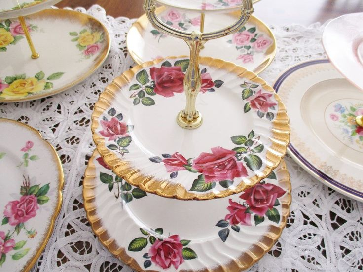1940s CAKE STAND by H. Aynsley & Co. Ltd. Staffordshire, England, 2 tier red rose china tea stand, heavy gold border, excellent condition