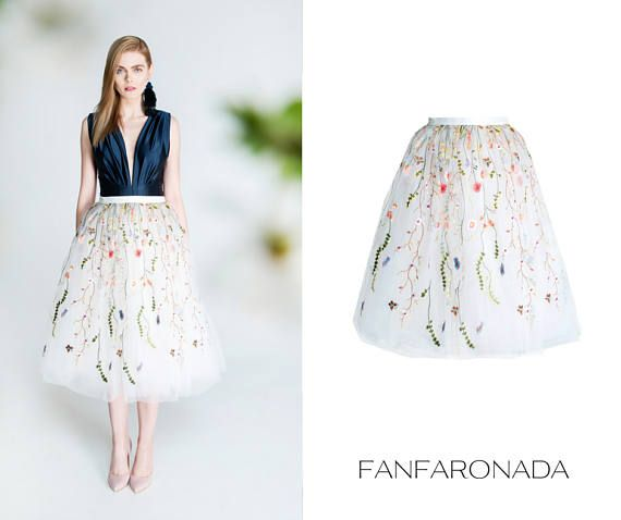 Floral ebroidered tulle skirt floral tulle skirt romantic