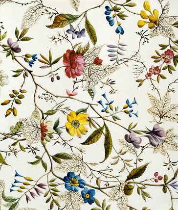 Flower fabric design by William Kilburn, available as poster at V&A;
