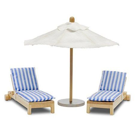 LUNDBY Stockholm Sunbeds Plus Parasol Playset by Lundby