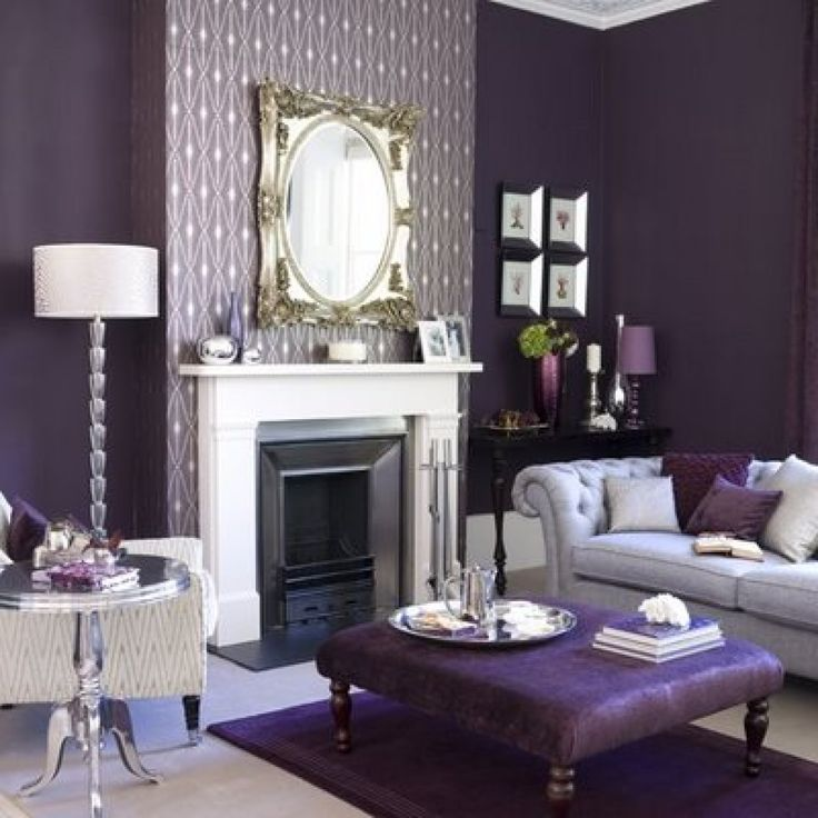 Gothic Purple and White Themed Living Room Design with Amazing Purple Rug Decorating and Antique Metal Mirror Design also Beautiful Wall Decorating for Sweet Purple Furniture and Decorations in the Living Room Designs