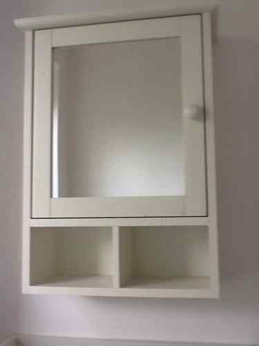 Marks And Spencer White Wood Bathroom Cabinet Mirror With Shelf Towel Rail