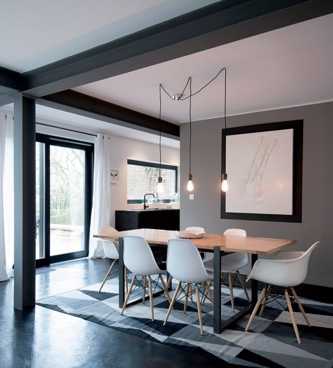 Maison cosy en black white contemporary dining room