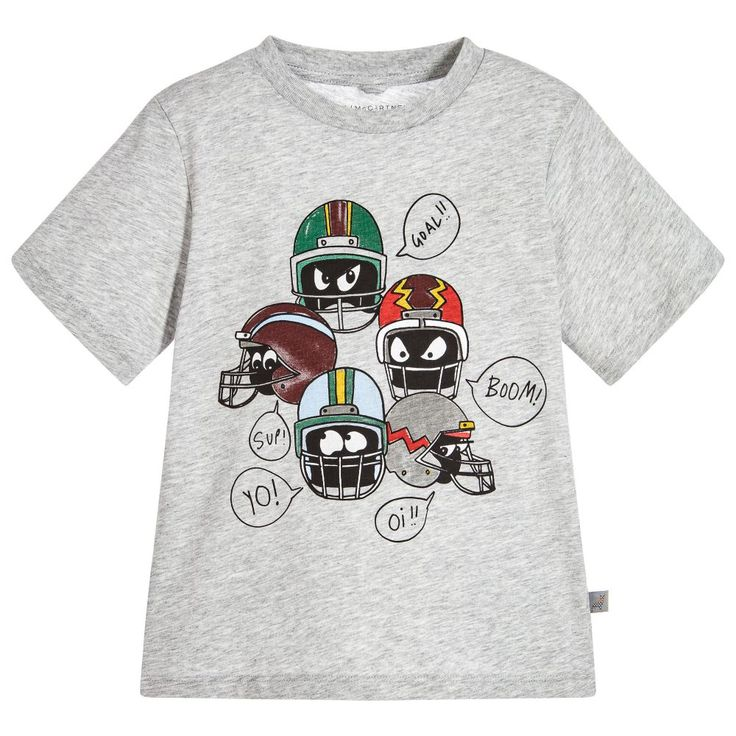 Soft, stretchy and comfortable, this grey marl Stella McCartney Kids helmet-print sweatshirt is just right for sporty boys. It's also made in organic cotton jersey, so it's kind to young skin as well as environmentally friendly. The Stella McCartney brand can be quite small fitting, so choose a larger size if you want room to grow.