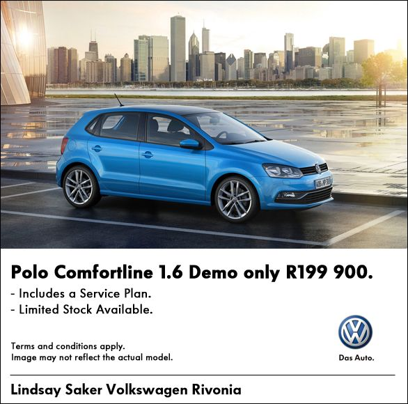 R199 900 for a Volkswagen Polo Comfortline 1.6 DEMO. Includes Service Plan. Limited stock available.
