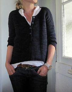 ...some mods to make it mine: longer sleeves - plain St st joined with 3 additional sts to knit in rounds 20 cm from underarm to make a jumper instead of a cardi ktbl the center stitch of the front