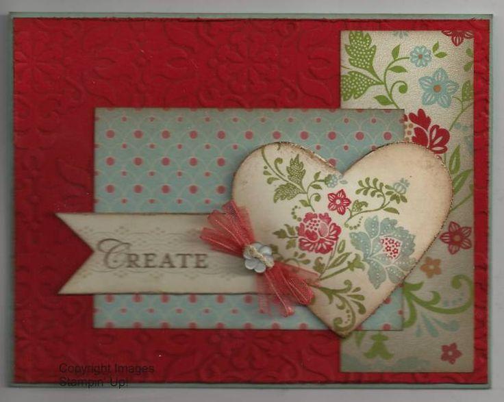 lovely handmade valentine ... Fresh Vintage ... layering for a sketch challenge ... Stampin' Up!