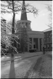 Ohio University's Galbreath Chapel in the snow, 1980 :: Ohio University Archives