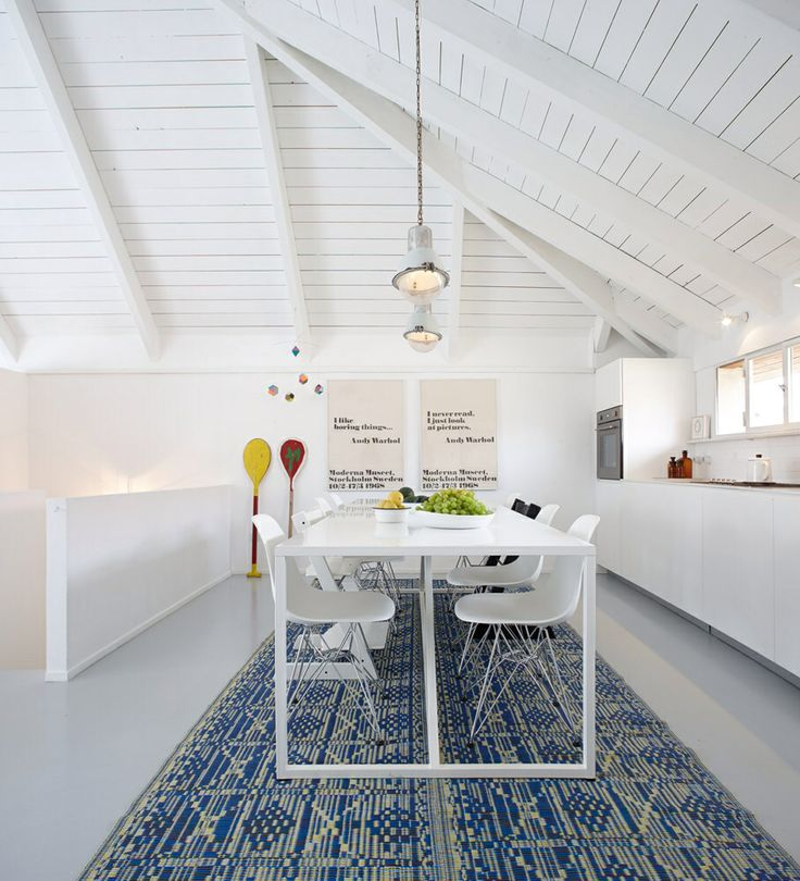 Kitchen modern clean white simple long table
