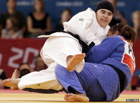 Wojdan Shaherkani (16) at the London 2012 Games. Making history - the first woman from Saudi Arabia to attend the games. Saudi women are not permitted to take part in PE at school, join sports clubs or attend sporting events as spectators. Arm twisted to allow her to attend it is hoped that Saudi will now allow her to continue with Judo - she is a blue belt.