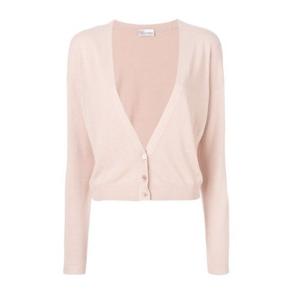 RED VALENTINO Cashmere Deep v-Neck Cardigan ($338) ❤ liked on Polyvore featuring tops, cardigans, pink, low v neck tops, pink cashmere cardigan, cashmere top, red valentino top and deep v neck top