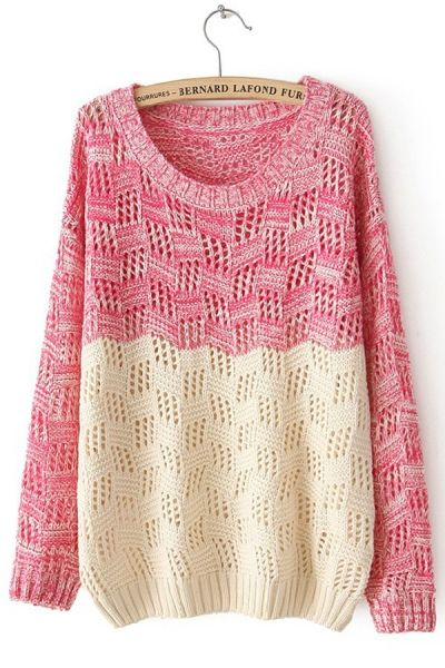 Color Block Cutout Marled Sweater OASAP.com