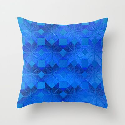 Twilight Throw Pillow by Gréta Thórsdóttir - $20.00 #scandinavian #snowflake #pattern #blue #cobalt #ombre #nightfall #livingroom