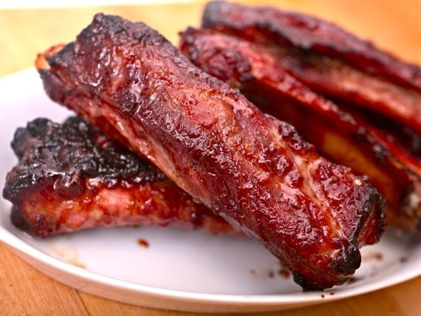 Chinese Spareribs (Charsui) — Ingredients:  1 tablespoon Chinese five-spice powder;  1 full rack St. Louis-style spareribs, cut into individual ribs (about 3 pounds total);  1/2 cup hoisin sauce;  1/4 cup shaoxing wine or dry sherry;  2 tablespoons soy sauce;  1/4 cup honey