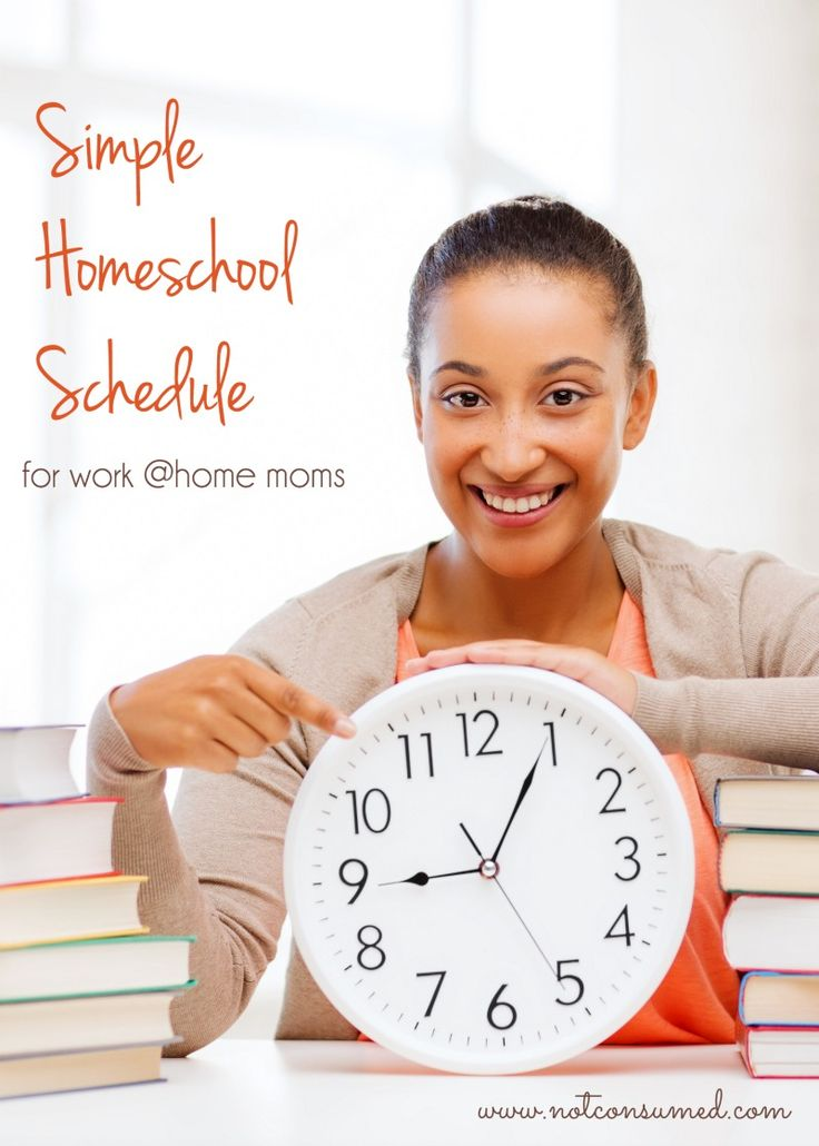 Simple Homeschool Schedule for work @home moms. Come see what we do. I bet you'll find something that works for you too!