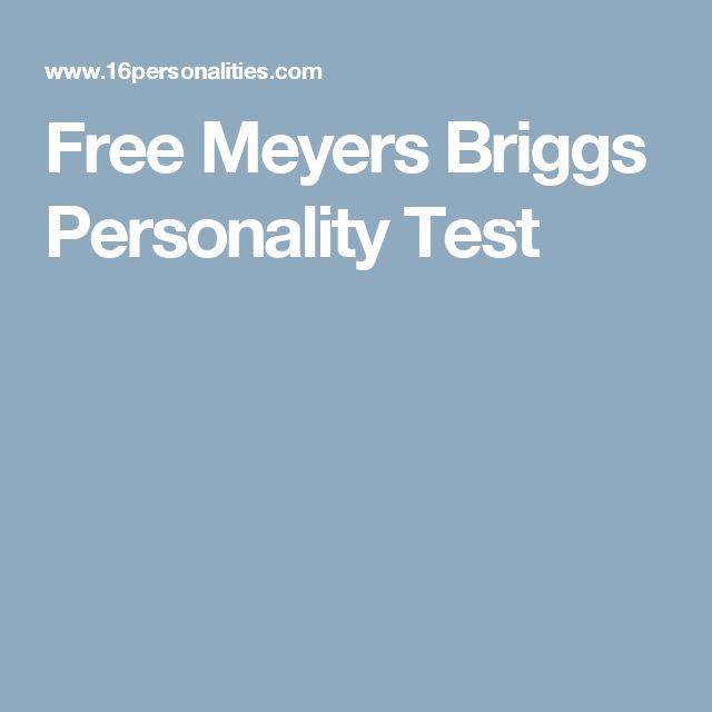 Free Meyers Briggs Personality Test