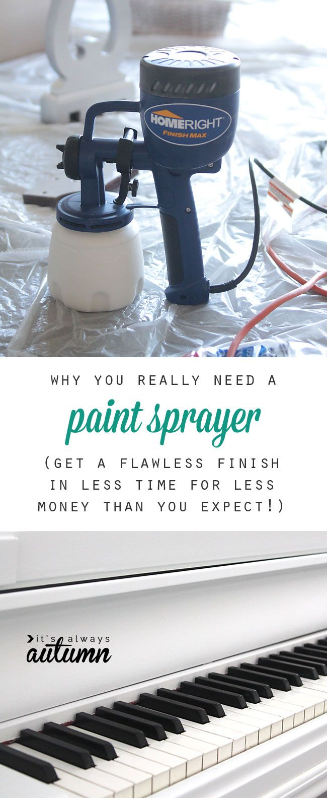 for perfectly painted furniture, chalk paint is not the answer - a paint sprayer is! It's easy to use for a flawless finish in no time - and it costs less than you think! plus NO brush strokes.