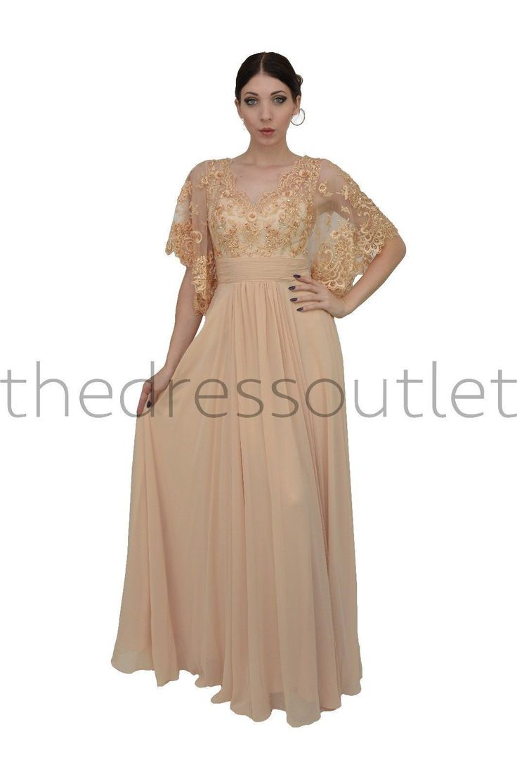 An elegant long formal gown with gorgeous kimono sleeves and a lace bust. The bottom is an elegant floor length skirt with beautiful movement. This dress is great for wedding and other special occasio