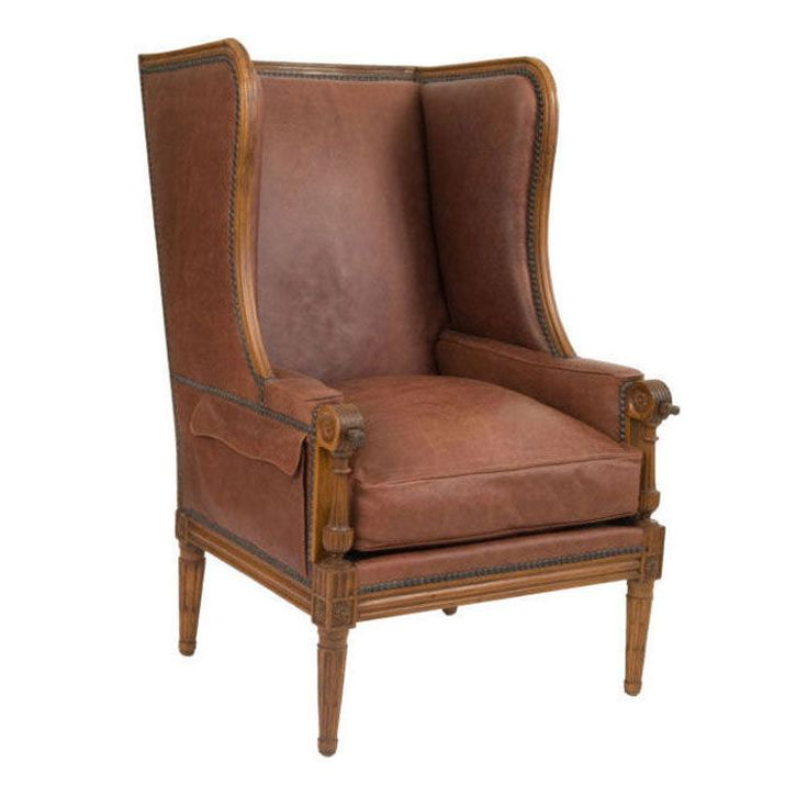Elegant 18th Century French Leather Wing Back Chair