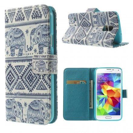 Une housse sobre et originale aux couleurs et motifs tribaux sur fond bleu qui protègera efficacement votre Samsung Galaxy S5.