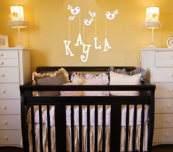 Bird and Name Nursery Wall Decal