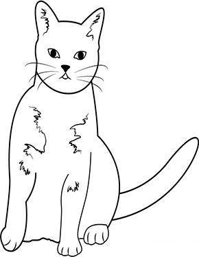 Ausmalbild Katze schaut dich an zum Ausmalen #