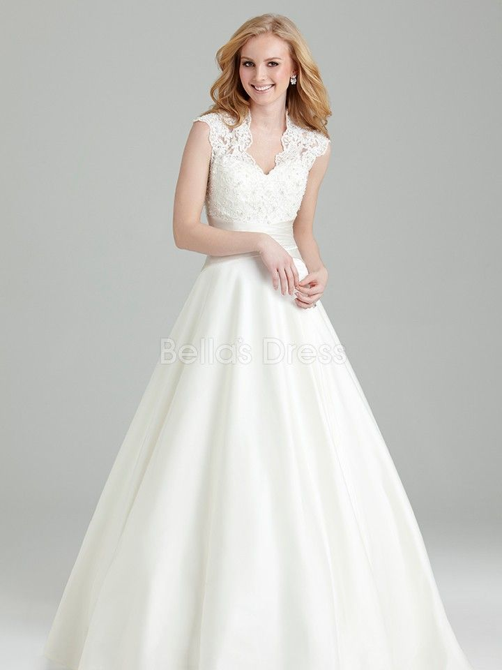 Queen Anne Empire Wedding Dress - I love this but would like a different, more flowy bottom