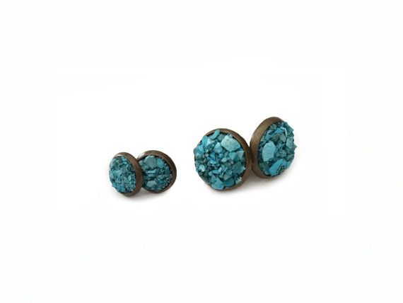 Turquoise Stud Earrings - Blue Stone Earrings, Gift for Her, Mineral Earrings, Boho Earrings, Southwest Earrings, Turquoise Earrings