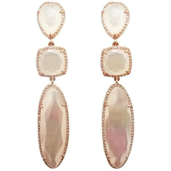 Ri Noor - White Mother of Pearl Diamond Earrings (100.050 RUB) ❤ liked on Polyvore featuring jewelry, earrings, accessories, mother of pearl earrings, white jewelry, diamond earrings, 14 karat gold earrings and geometric jewelry