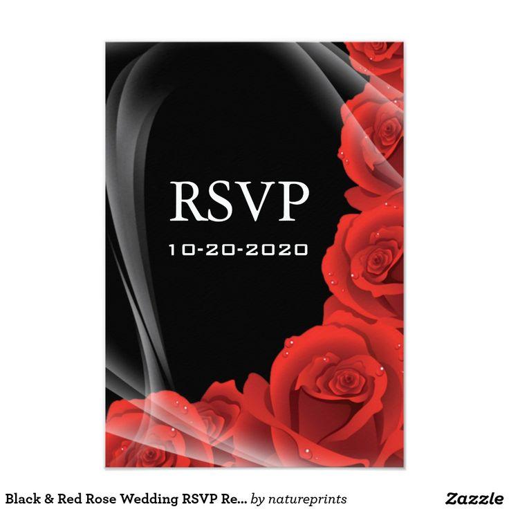 msg for wedding invitation%0A Black  u     Red Rose Wedding RSVP Response Cards