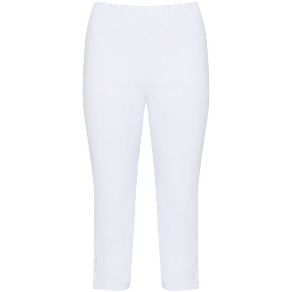 Twister White Plus Size Cropped leggings ($68) ❤ liked on Polyvore featuring pants, plus size, white, cropped pants, high-waist trousers, high waisted stretch pants, plus size crop pants and white crop pants