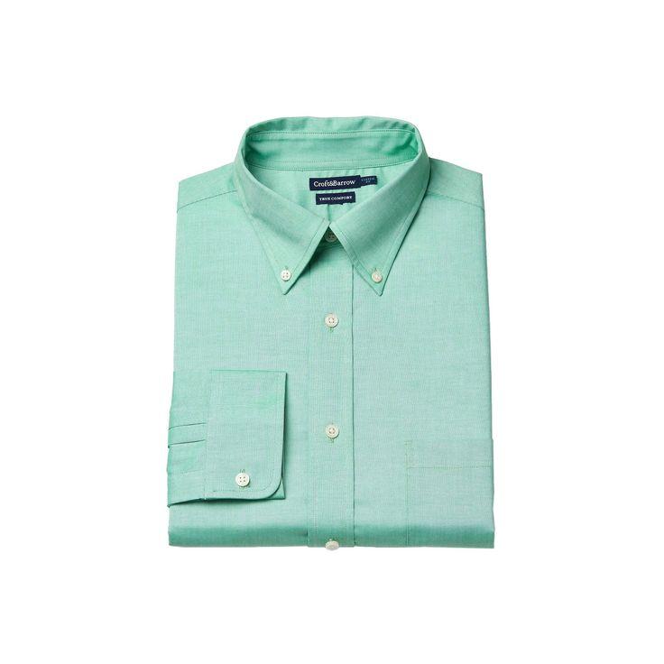 Men's Croft & Barrow® Easy-Care True Comfort Regular-Fit Stretch Dress Shirt, Size: 15-32/33, Med Green