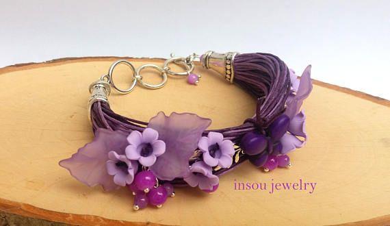 Purple Bracelet Flower Bracelet Charm Bracelet Lilac Wrap