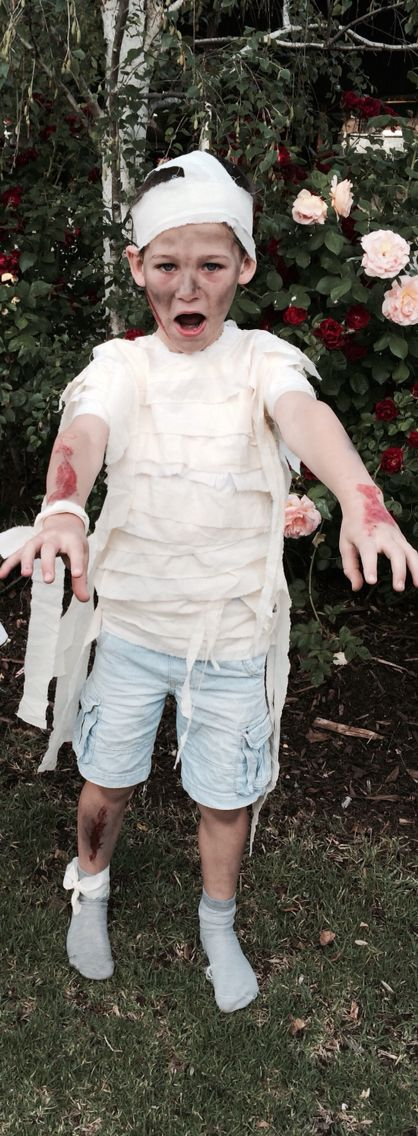Mummy shirt and bandaged head costume for Halloween made by me! 2014