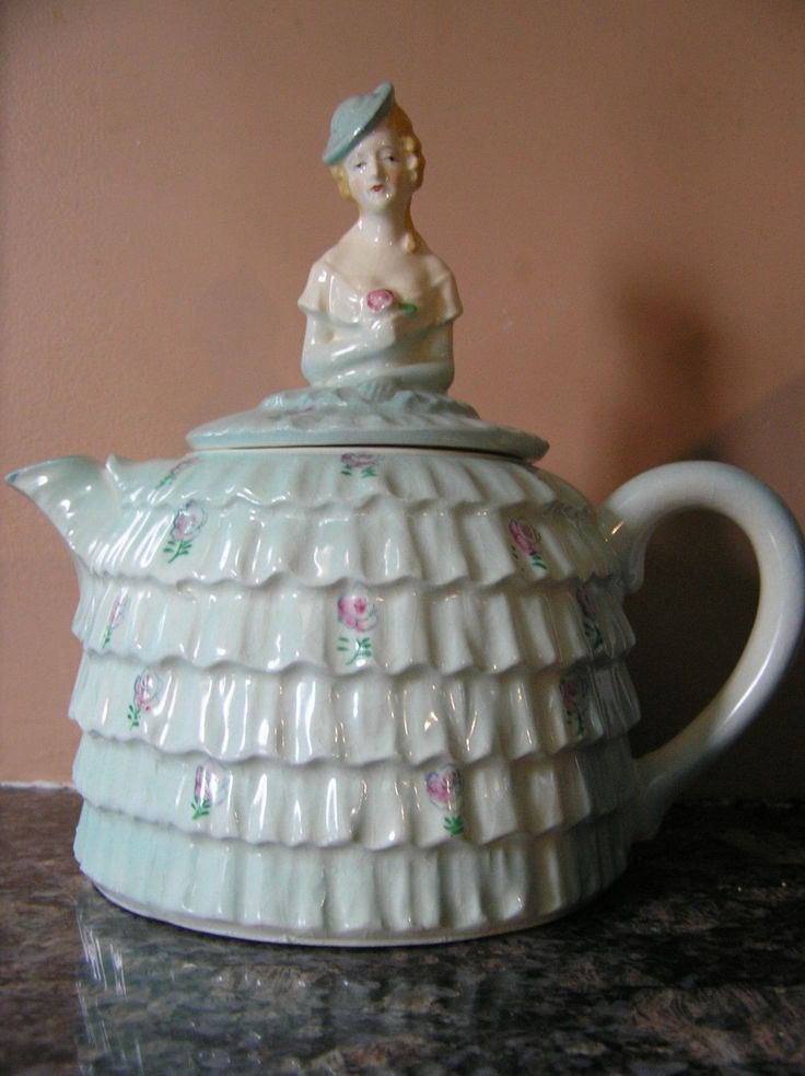 Details About Lady Teapot Vintage Stamped Japan Aqua