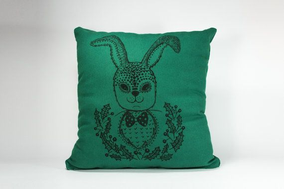 15 by 15 Hand-drawn illustration on pillow Fluffy by detcraft
