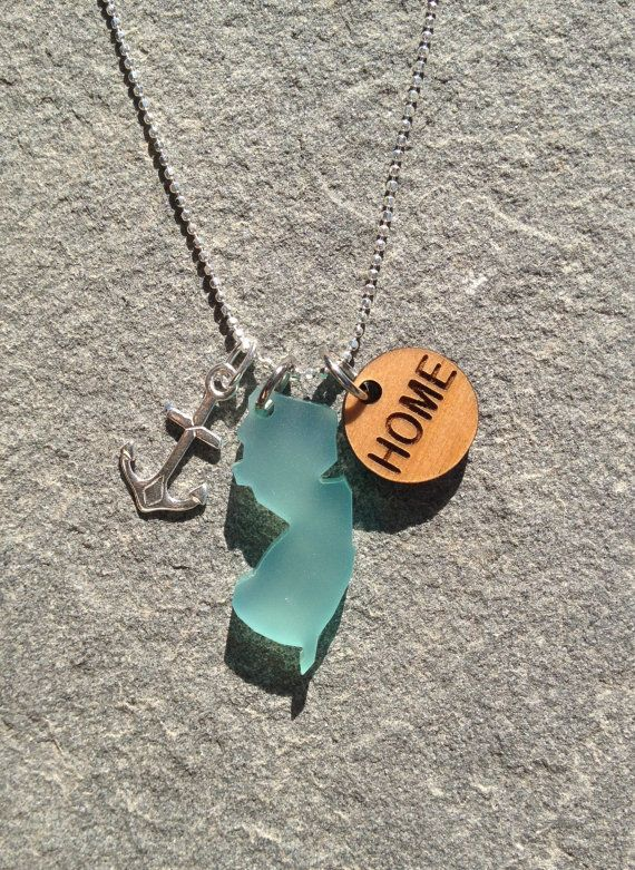 New Jersey Beach Glass Silver Anchor Home Necklace by cabana109, $40.00