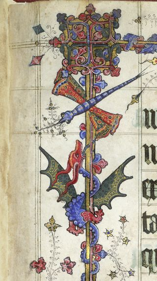 Detail of a marginal dragonfly and dragon, from the Lovell Lectionary, England (probably Glastonbury), c. 1400 – c. 1410, Harley MS 7026, f. 13r