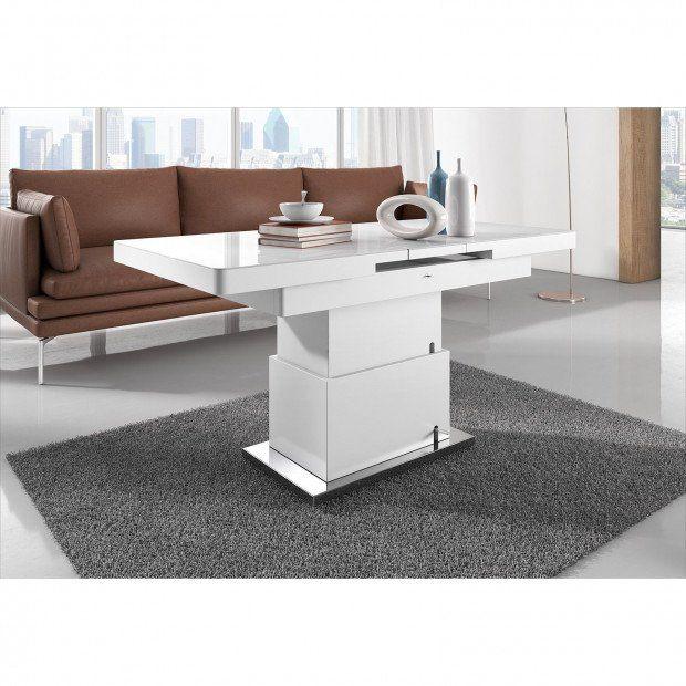 Table Design 138 175 Cm Extensible Et Relevable Coloris Blanc Laque Avec Plateau En Verre Trempe Table Design Table Basse Relevable Extensible Table Basse Avec Plateau Relevable