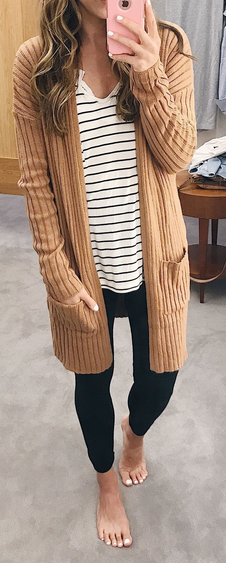 #fall #outfits women's beige cardigan, striped shirt and black leggings - Sale! Up to 75% OFF! Shop at Stylizio for women's and men's designer handbags, luxury sunglasses, watches, jewelry, purses, wallets, clothes, underwear & more! #womenclothingforfall