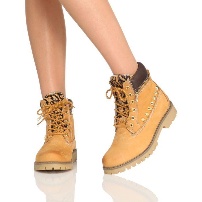 bottines femme jaune