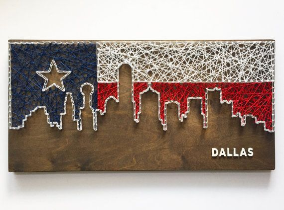 Custom 12 x 24 inch Skyline String Art - with or without wooden lettering Not your city? No problem - just let us know what city you would like. Please indicate choices for: - stain color - string color(s) - font (if applicable) Possibilities are endless, please feel free to contact us to help create the perfect item for you. Dont see the perfect color, send us a message, we might be able to help! Item pictured with Jacobean Stain - Skyline Fill - Texas Flag in Navy, White, and Red hemp…