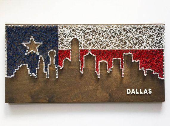 Dallas Skyline String Art  Texas Flag  Dallas Art  Texas