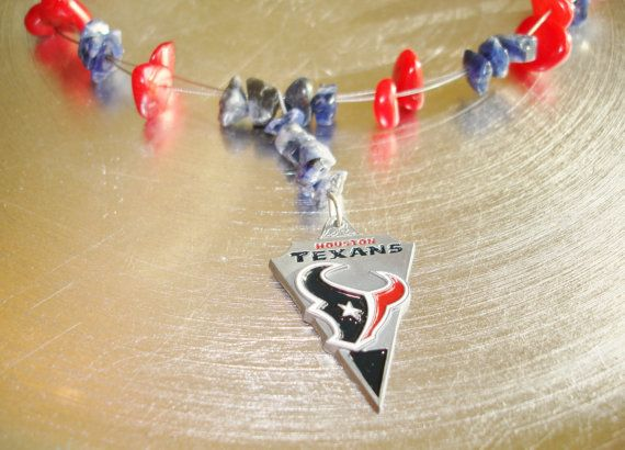 Houston Texans Jewelry, NFL Texans Football Charm Necklace with Blue Stone and Red Coral